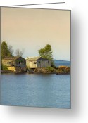 Pebbles Digital Art Greeting Cards - North Shore Old Buildings Greeting Card by Bill Tiepelman