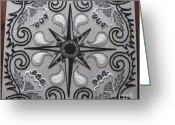 Black And White Tapestries - Textiles Greeting Cards - North Star Greeting Card by Carolyn Powers