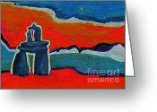 Surrealism Pastels Greeting Cards - North Story Inukshuk Greeting Card by First Star Art