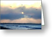 Sea Digital Art Greeting Cards - North Wildwood Beach Greeting Card by Bill Cannon
