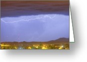Unusual Lightning Greeting Cards - Northern Colorado Rocky Mountain Front Range Lightning Storm  Greeting Card by James Bo Insogna