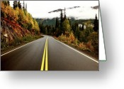 Asphalt Digital Art Greeting Cards - Northern Highway Yukon Greeting Card by Mark Duffy