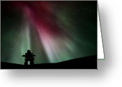 Canada Digital Art Greeting Cards - Northern lights above an inukchuk in Saskatchewan Greeting Card by Mark Duffy
