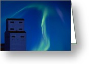 Polaris Greeting Cards - Northern Lights and Grain Elevator Greeting Card by Mark Duffy