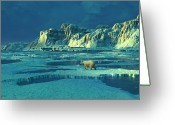 Polar Bear Greeting Cards - Northern Lights Greeting Card by Dieter Carlton