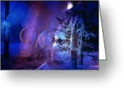 Mood Glass Art Greeting Cards - Northern Lights Greeting Card by Etti Palitz