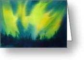 Winter Painting Greeting Cards - Northern Lights I Greeting Card by Kathy Braud