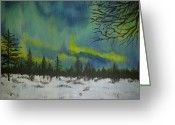 Snowy Night Greeting Cards - Northern lights Greeting Card by Irina Astley