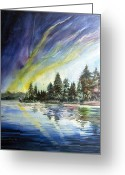 Pine Trees Painting Greeting Cards - Northern Lights Greeting Card by Kristine Plum