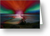 Linda-sannuti Art Greeting Cards - Northern Lights Greeting Card by Linda Sannuti