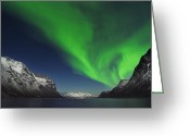 Fantasy Surreal Spooky Photography Greeting Cards - Northern Lights Near Tromso, Troms, Norway Greeting Card by Martin Ruegner