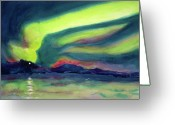 Shores Painting Greeting Cards - Northern Lights on Superior Shores Greeting Card by Kathy Braud