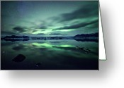 Glacier Greeting Cards - Northern Lights Over Jokulsarlon Greeting Card by Matteo Colombo