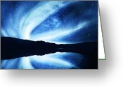 Polaris Greeting Cards - Northern Lights Greeting Card by Setsiri Silapasuwanchai