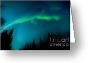 Night Time Greeting Cards - Northern Magic Greeting Card by Priska Wettstein