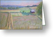 Early Pastels Greeting Cards - Northern Michigan Farmland Greeting Card by Sandra Strohschein