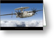Military Artwork Greeting Cards - Northrop Grumman E-2D Hawkeye Greeting Card by Larry McManus