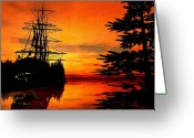Sailing Ships Greeting Cards - Northwest Anchorage Greeting Card by Timothy McPherson