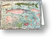 Wildlife Art Ceramics Greeting Cards - Northwest Fish Mural Greeting Card by Dy Witt