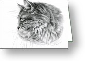 Cat Profile Greeting Cards - Norwegian Forest Cat Greeting Card by Svetlana Ledneva-Schukina