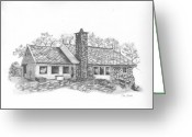 Stone Chimney Greeting Cards - Norwegian House Greeting Card by Sue Olson