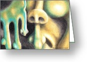 Abstract Card Pastels Greeting Cards - Nosing Around Greeting Card by Alan Rutherford