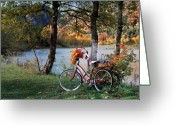 Bicycle Greeting Cards - Nostalgia Autumn Greeting Card by Leland Howard