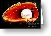 Baseball Mitt Greeting Cards - Nostalgia Greeting Card by Lj Lambert