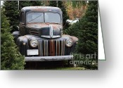 Ford Truck Greeting Cards - Nostalgic Rusty Old Ford Truck . 7D10279 Greeting Card by Wingsdomain Art and Photography