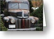 Ford Truck Greeting Cards - Nostalgic Rusty Old Ford Truck . 7D10280 Greeting Card by Wingsdomain Art and Photography