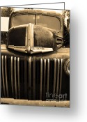 Ford Truck Greeting Cards - Nostalgic Rusty Old Ford Truck . 7D10281 . sepia Greeting Card by Wingsdomain Art and Photography
