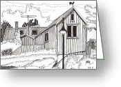 Weathercock Greeting Cards - Nostalgic Street Greeting Card by Britt Myrli
