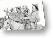 Cowboy Sketches Greeting Cards - Not Again Greeting Card by Jack Schilder