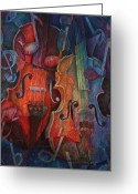 Classical Music Art Greeting Cards - Noteworthy - A Viola Duo Greeting Card by Susanne Clark