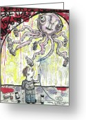 Outsider Art Mixed Media Greeting Cards - Nothing You Cant Reach Greeting Card by Robert Wolverton Jr