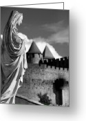 South France Greeting Cards - Notre Dame Carcassonne Greeting Card by Robert Lacy
