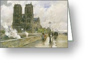 Raining Painting Greeting Cards - Notre Dame Cathedral - Paris Greeting Card by Childe Hassam