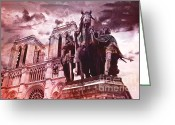 Pink Framed Prints Greeting Cards - Notre Dame Cathedral Sculpture Monument Landmark Greeting Card by Kathy Fornal
