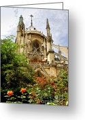 Architecture Tapestries Textiles Greeting Cards - Notre Dame de Paris Greeting Card by Elena Elisseeva