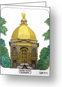 College Buildings Images Greeting Cards - Notre Dame Greeting Card by Frederic Kohli