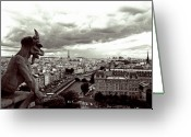 Clouds Framed Prints Greeting Cards - Notre Dame Gargoyle Greeting Card by Kathy Yates