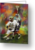 Sports Art Painting Greeting Cards - Notre Dame Lacrosse Greeting Card by Scott Melby