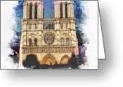 Mo Greeting Cards - Notre Dame Greeting Card by Mo T