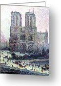 Pointillist Painting Greeting Cards - Notre-Dame Paris Greeting Card by Maximilien Luce