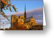 Paris Greeting Cards - Notre Dame Sunrise Greeting Card by Mick Burkey