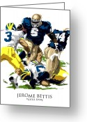 Fighting Greeting Cards - Notre Dames Jerome Bettis Greeting Card by David E Wilkinson