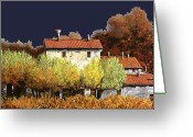 Blue Sky Greeting Cards - Notte In Campagna Greeting Card by Guido Borelli