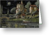 Guido Borelli Greeting Cards - Notte Nera Greeting Card by Guido Borelli