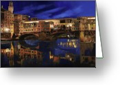Gold Painting Greeting Cards - Notturno Fiorentino Greeting Card by Guido Borelli
