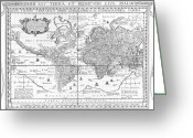 Exploration Drawings Greeting Cards - Nova Totius Terrarum Orbis Geographica Ac Hydrographica Tabula Greeting Card by Dutch School